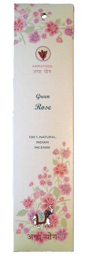 GREEN ROSE - 21 Stck indische Premium Räucherstäbchen, Marke: Amrayoga