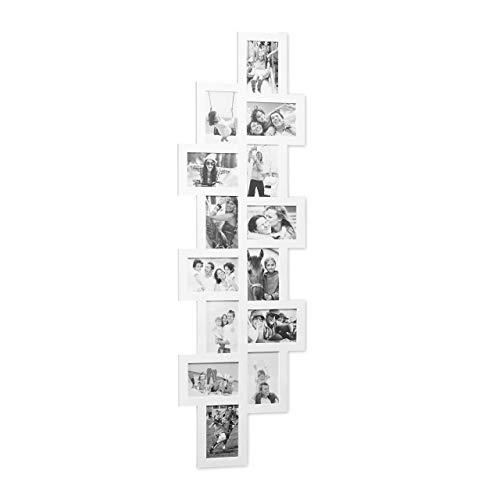 Relaxdays Bilderrahmen Collage, Bildergalerie 14 Bilder, Fotorahmen zum Aufhängen, mehrere Fotos, HxB: 118x36 cm, weiß