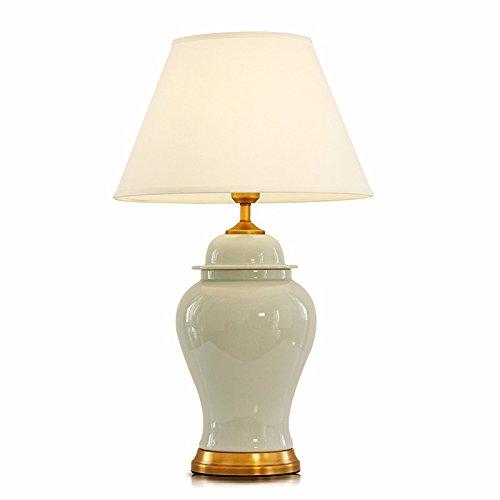 China Crema (Europäische Lampe China Keramik Schlafzimmer Nachttischlampe Retro Luxus dekorative Schreibtisch Lampen, Breite: 40cm, Höhe: 67cm)