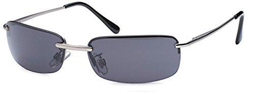 High Quality Rechteckige Herren Sonnenbrille mit Federscharnier Sunglasses Sportbrille Matrix Rad Brille Radbrille Sport (Silver/Smoke)