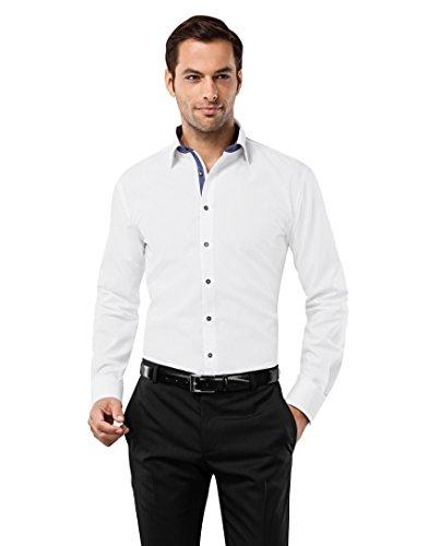 VB-Camicia da uomo Slim Fit, Ferro Uni con contrasti White/dark blue 44 cm