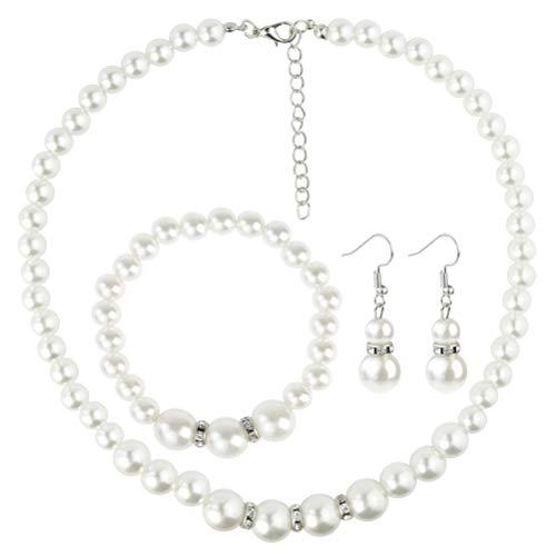 Nachahmung Perlen Halskette Necklace Armbänder Bracelet Ohrringe Schmuck Sets Damen Frauen Wedding Hochzeit Party Geschenke Weiß