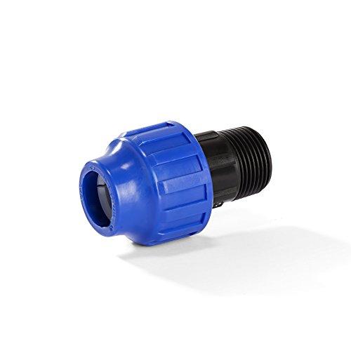 """H2O-Flex PP-Fitting, Klemmverbinder - 25er PE Adapter mit 3/4"""" Aussengewinde, 25 mm, DVGW"""
