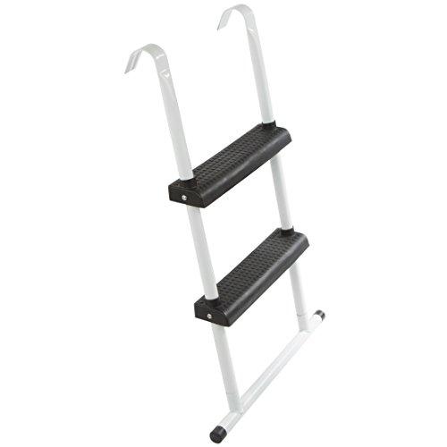 Ultrasport Trampolin-Leiter 95 cm mit Bodenquerstrebe, Einstiegshilfe fürs Trampolin, mit 2 Stufen, Leiter für Gartentrampoline und Freizeittrampoline mit 305 cm bis 430 cm Durchmesser, Weiß/Schwarz