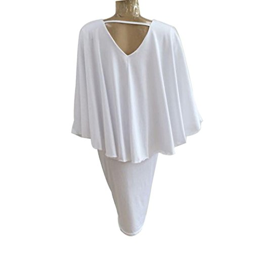 Grande Taille Femme Robe Kolylong Sexy Batwing Robe De Cocktail Taille Haute Slim Dress Blanc