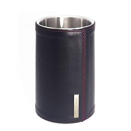 Designer Leder Weinkühler Sektkühler LUX, Premium Edelstahl doppelwandig, mattiert. Außen echt Feinleder Lamm Nappa Leder Schwarz. Handgefertigt in unserem Atelier. H 19,5 Ø 12 cm für 0,7 und 1 Liter