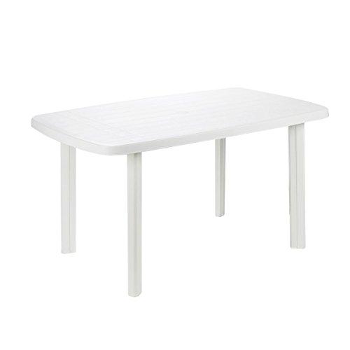 PROGARDEN - Mesa plástico, 87 x 138 x 6 cm, color blanco