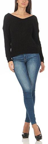 malito maglione aperta sulla schiena maglia 7340 Donna Taglia Unica Nero