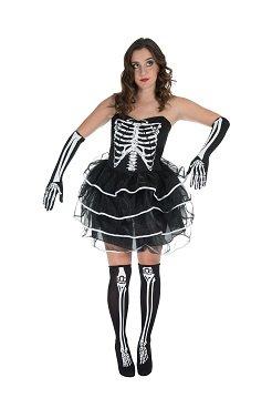 Monster Ladies Skeleton Dress Halloween Skelett Kostüm Tutu Größe L Damen 40134 (Womens Monster Halloween-kostüm)