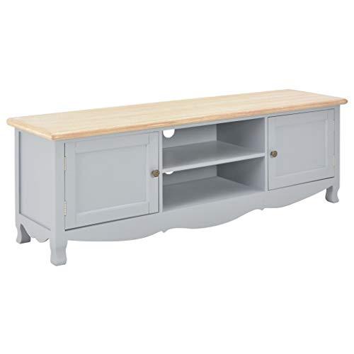 Festnight- TV-Schrank mit 2 Türen und 2 offenen Fächern Fernsehtisch TV Lowboard Tisch TV Möbel TV Board Fernsehschrank Grau 120×30×40 cm Holz -