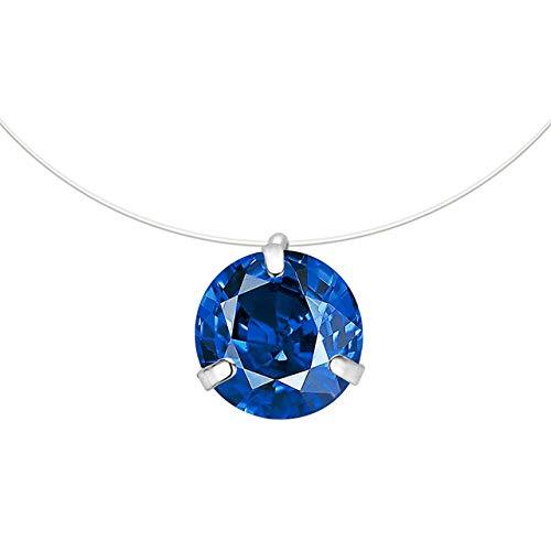 WSCDEHNew Transparent Angelschnur Halskette Frauen Farbe Chocker Herz Unsichtbare Kette Kristall Strass -Halsketten -On Line NeckDark Blue