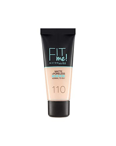Maybelline New York Fondotinta Coprente Opacizzante Fit Me Matte & Poreless, Colore Uniforme, Pori Minimizzati, 110 Porcelain