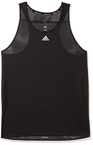 adidas Herren Tanktop Response Sporthemd T-shirt, Schwarz/Weiß, M -