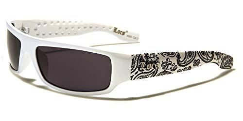 LOCS® Sonnenbrille Biker Brille für Herren West Coast Style MODELLWAHL LCV (Thug Bandana/White)