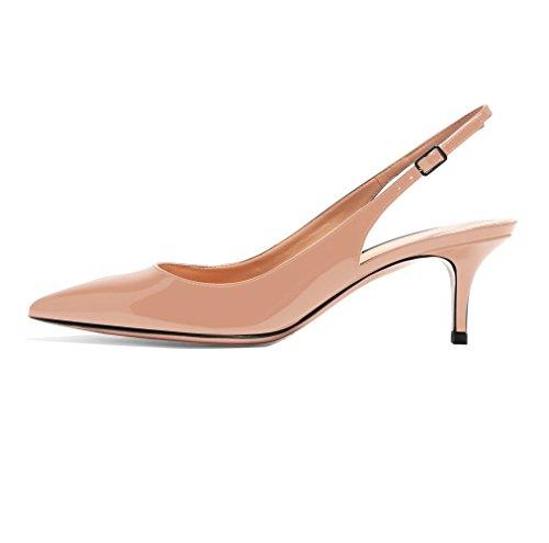 Soireelady Scarpe da Donna,Scarpe col Tacco Donna,Scarpe con Cinturino Dietro la Caviglia,Beige EU39