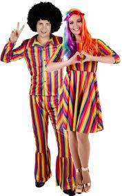 Fancy Me Hippie-Kostüm für Paare, Hippie, Hippie, für Sie und Ihn, Karneval, Festival, Pride, Karneval, Karneval, Kostüm, Kostüm