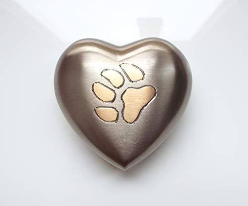 Paw Pebbles Urna para Cenizas de cremación con Forma de corazón para Mascotas, Gatos, Perros, Conejos