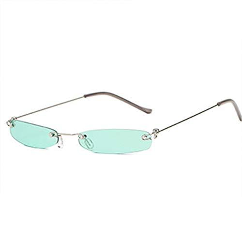 GJYANJING Sonnenbrille Randlose Sonnenbrille Frauen Männer Vintage Schmales Rechteck Kleine Sonnenbrille RetroWeibliche Mode Rote Gläser
