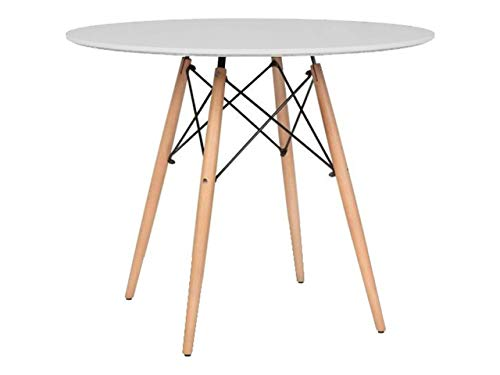 Mirjan24  Esstisch Fiorino Runde, Kaffeetisch, Küchentisch Modern Büro Konferenztisch, Esstisch Küche Holz Kaffee Tee Büro (Weiß) - Küche Oval Tisch