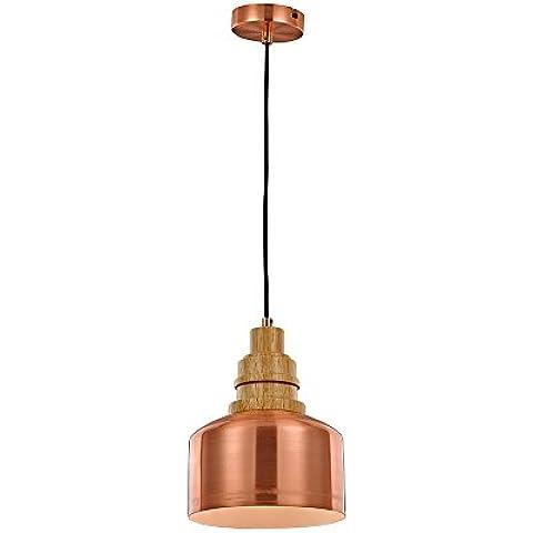 Candil de techo en el estilo vintage, pantalla de cobre en el estilo industrial, candil colgante de estilo de metal cobreado, lámpara retro con una decoración al cobre - Ø20 cm, cable de color negro, zócalo