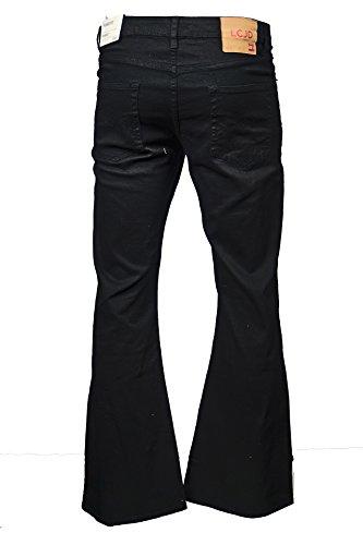 LCJ Denim Herren Jeanshose mit Schlag, Indie-/Retro-Stil, 70er-Jahre-Jeans, ausgestellt, LC16, Schwarz - 30W x 32L