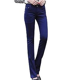 0b963b000e642 Pantalons pour Femmes Mode Slim Fit Skinny Casual Pantalon breal Jeans  Évasé De Couleur Unie Micro avec Poches…