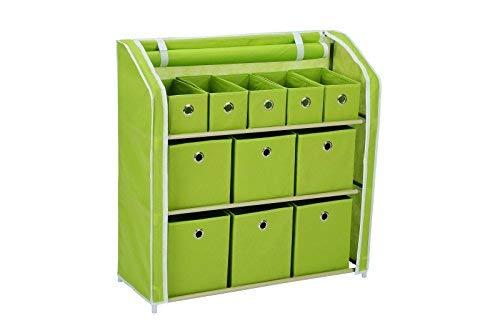 homebi Lagerung Organizer multi-bin Aufbewahrungsschrank mit 3-Tier-stabiles Metall Regal Rahmen und 11faltbar Vliesstoff Mülleimer, 78,7cm W x 30,5cm D X32
