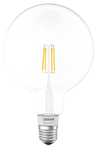 Osram Smart+ Lampadina LED a Filamento Bluetooth Compatibile con Apple Homekit e Android. Globo, E27, 50 W Equivalenti, Dimmerabile