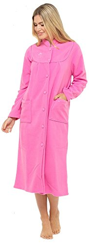 Undercover Peignoir chaud en polaire à manches longues poches & avant boutonné doux pour femme, rose foncé, X-Large