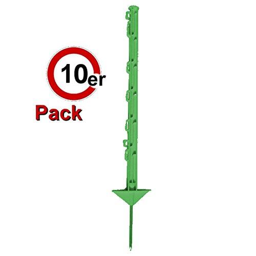 *Göbel Weidezaunpfahl PP Copo GF Wildabwehrpfahl 75cm 5 Bandösen 2 Seilösen mit Stahlnagel grün 10 St.*