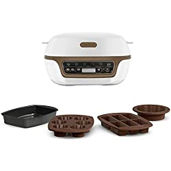 TEFAL Cake Factory+  Appareil Intelligent de Gâteaux et Pâtisseries: Maxi Cookies, Maxi Brookies, Fondants, Coeurs Coulants, Muffins, Meringues, Brownies, Cannelés...  4 Moules Inclus KD802112