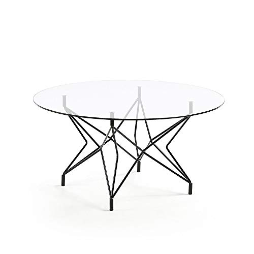 Table Basse Ronde Kovacs Ø90 cm Verre et Pieds métal Noir