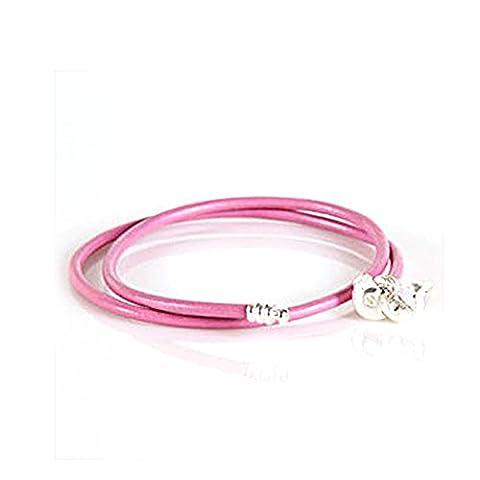 Everbling Rose 38cm Cuir Double Argent sterling Barrel Fermoir Bracelet pour perles de style Pandora Charm