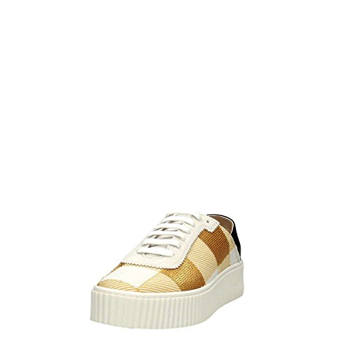 Scarpe Donna Sneakers PINKO Shine Baby Ungherse Paillettes Pelle Bianco Oro New Bianco