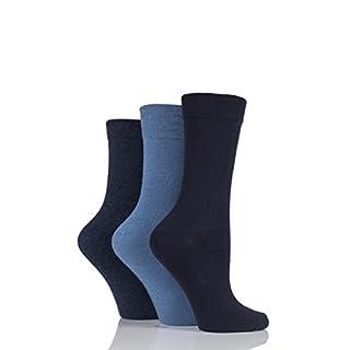 Ladies 3 Pair Jennifer Anderton Plain Cotton Socks - Denim 4-8