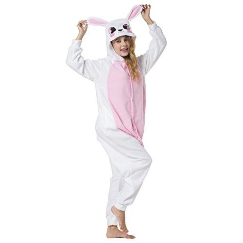 Katara 1744 -Hase rosa/weiß Kostüm-Anzug Onesie/Jumpsuit Einteiler Body für Erwachsene Damen Herren als Pyjama oder Schlafanzug Unisex - viele verschiedene (Kinder Kostüme Für Ganzkörper)