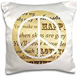 PS Vintage - You are my sunshine peace sign inspirational art - 16x16 inch Pillow Case