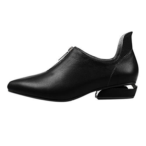Deloito 2019 Damen Mode Segelschuhe einfarbig Flache Leder Schuhe Spitze Freizeit Quadratische Fersen Erbsenschuhe Reißverschluss einzelne Schuhe (Schwarz,39 EU) Patent T-strap Pump