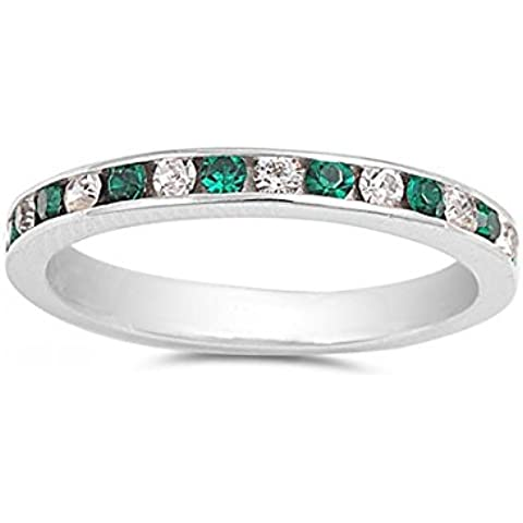 Argento di colore smeraldo e trasparente zirconi Eternity anello 3MM - Smeraldo Trasparente Anello