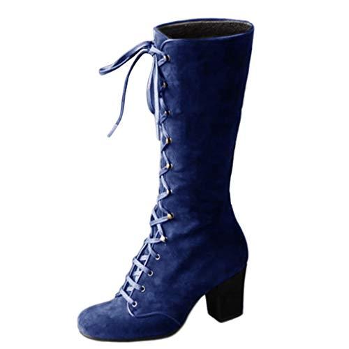 Luckycat Botas Mujer Invierno Zapato Plano Redondo Dedo del pie...