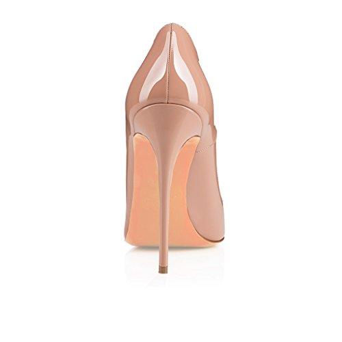 EDEFS Femmes Artisan Fashion Escarpins Délicats Classiques Elégants Pointus Des Couleurs Variées Chaussures à talon de 120mm Bleu Beige