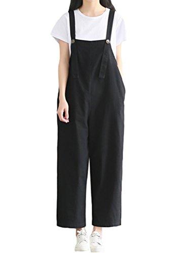MatchLife Damen Breite Beine Hosen Loose Denim Jeans Jumpsuit Latzhose allgemeins Style16 Größe 34-42