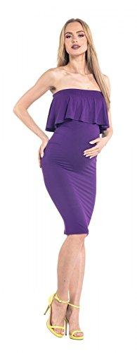Happy Mama. Damen Umstands Stretch Midi Kleid trägerlos Bleistiftkleid. 571p Lila