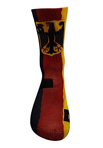 Deutsche Flag Socken mit Eigenem Handgefertigte Motiv Design 3D Druck Socken für internationale Basketball Fußball Fitness Volleyball Tennis Golf Atmungsaktiv Sportsocken für Höhe Leistung (39-42)