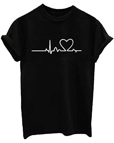 BLACKMYTH Mujer Moda Redondo Algodón T-Shirt Señoras Impresion Camisetas Manga Corta Tees Negro Large