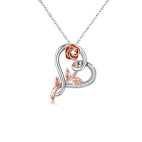 Kette Damen Rose Blume Halskette Herz Anhänger Silberkette S925 vergoldet Weißes Gold Schmuck Romantische Geschenk für Frauen Mädchen (Blume Kette-1)