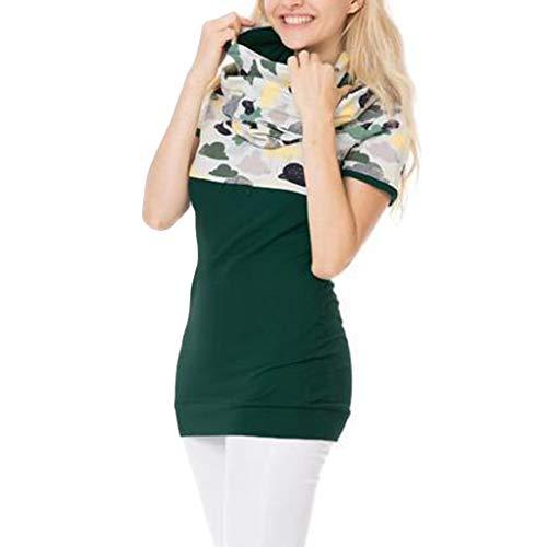 Damen Stillshirt & Umstandsshirt Nursing Tops Mutterschaft Kurzarm Stillshirt Sommer Zweilagiges T-Shirt für Schwangere Lagendesign Wickeln-Schicht Nursing Tops (XL, Grün) -