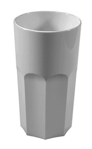 Set von 6 RB Unbreakable Wiederverwendbare Polycarbonat Kunststoff weiß Achteck geformt 12 OZ Trinkgläser. (330 ml/12 oz an Rim Höhe 13cm, Max. Durchmesser 7.2cm - Rim Weiß Glas