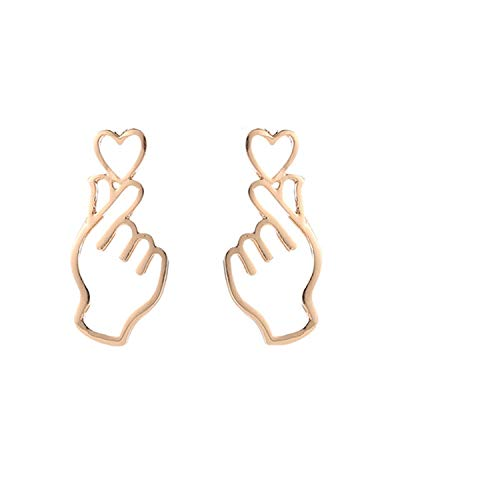Daawqee Damen-Ohrstecker, 1 Pairs Personality Metal Love Earrings Hollowing Out Heart Gesture Earrings HEART SHAPED STUD EARRINGS B