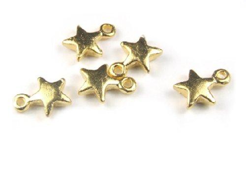 25er Pack Anhänger, Sternchen, Sterne, 9x7 mm, goldfarben -
